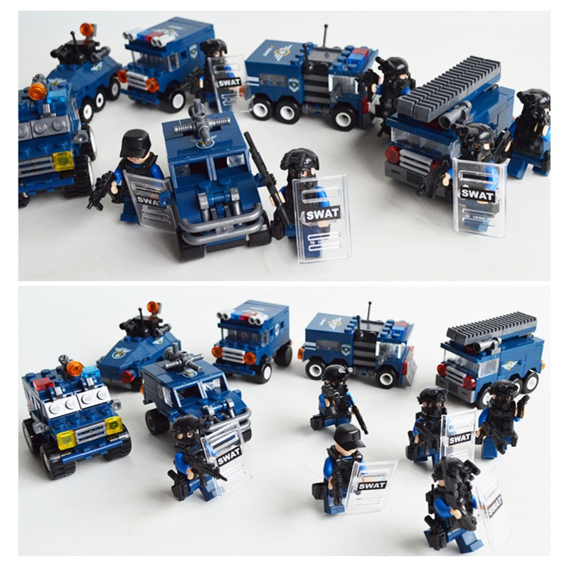 KAZI 6 Models City SWAT Team Block Building Bricks Compatible with lego Kids Game Blocks Educational Learning Toys kazi bricks blocks truck educational building blocks diy kids toys gift block compatible with lego