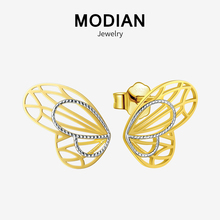 Modian Fashion 100% 925 Sterling Silver 18K Gold Plated Line Lovely Butterfly Stud Earrings For Women Charm Silver Fine Jewelry modian genuine silver earrings for women 925 sterling silver stud earrings silver 925 with colorful fantastic jewelry