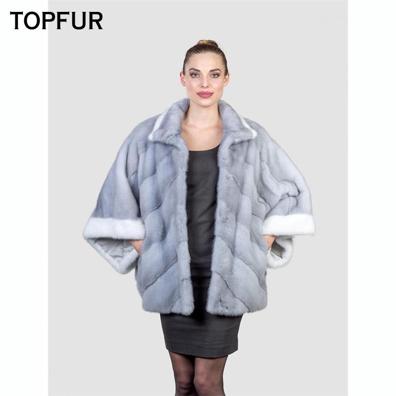 TOPFUR Women With Fur Collar Top Quality Mink Fur Coat 2018 Luxury Natural Fur Outwear Winter New Arrival Real Mink Fur Coat