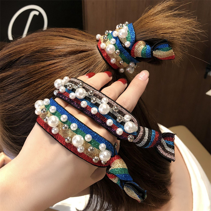 Korean Women Pearls Hair Accessories Colorful Striped Hair Ties Headbands Ponytail Holder Girls Scrunchies Elastic Hair Bands