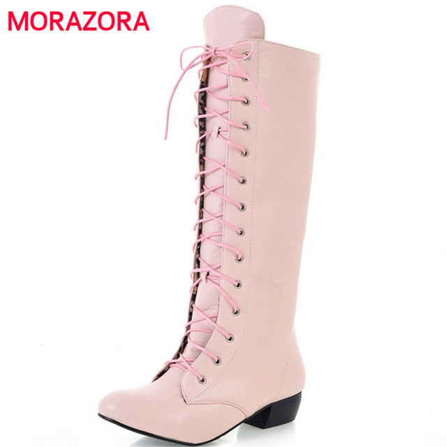 57a5e1bef1 US $23.32 48% OFF|MORAZORA 2018 New fashion knee high boots lace up sexy  low heels comfortable high quality autumn women boots white black pink-in  ...