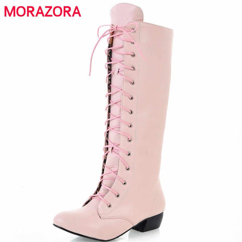MORAZORA 2020 yeni moda diz yüksek çizmeler dantel kadar seksi alçak topuklu rahat yüksek kalite sonbahar kadın botları beyaz siyah pembe