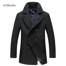 2017 new autumn and winter style men woolen coat fashion business casual double breasted men's solid wool windbreaker jacket