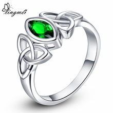 lingmei Solitaire Style Women Fashion Marquise Cut Purple White Pink Green CZ White Gold Ring Size 6 7 8 9 10 Free Shipping(China)