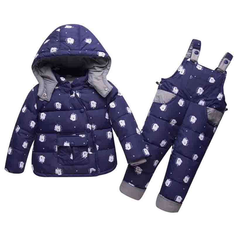 Children Duck down Jackets+bib Pant 2pcs Snowsuit Winter Overalls For Boys Girls kids Warm Jackets Toddler Outerwear Baby Suits цена 2017