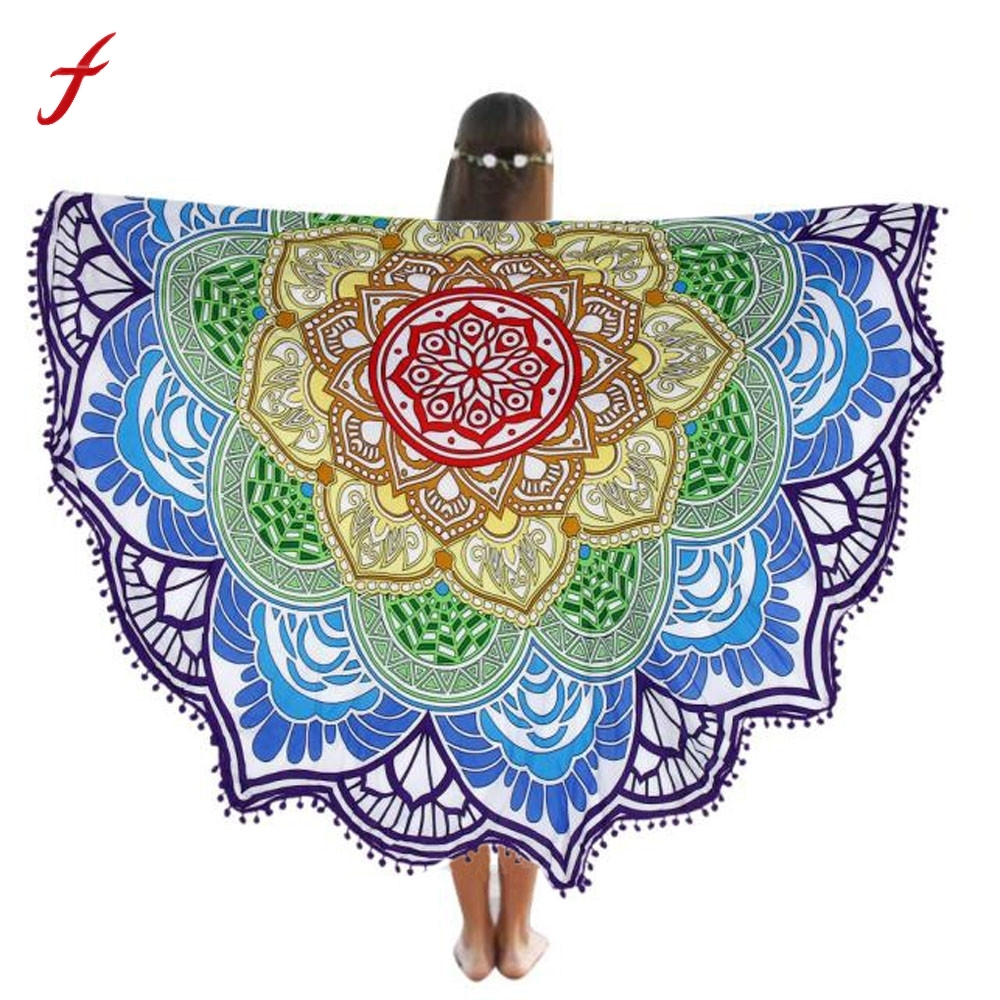 2017 Indian Mandala Beach Towel Large Round Beach Pool Home Shower Towel Blanket Table Cloth Home Shower Towel Blanket 150Cm