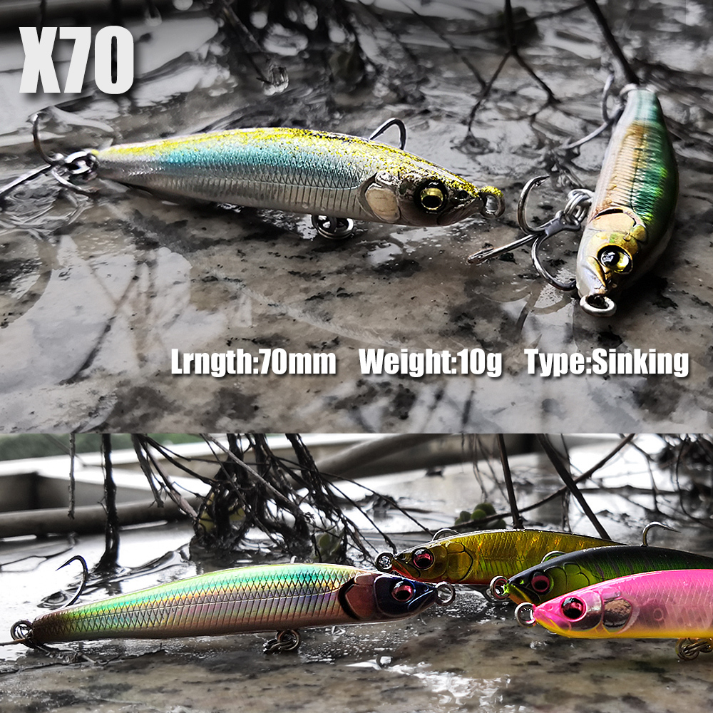 2019 NEW X-70 Sinking pencil lure stickbait wobbler artificial bait fishing tackle for Sea Bass Trout Pike Perch fish lures