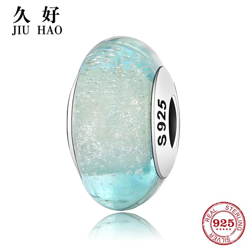 100% Authentique 925 Sterling Silver Blue Murano Verre Perles Europen Motif Fit Original Pandora Charme Bracelet Bijoux En Gros