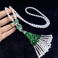 long necklace natural fresh water pearl tassels sweater chain butterfly 925 sterling silver with cubic zircon fashion jewelry