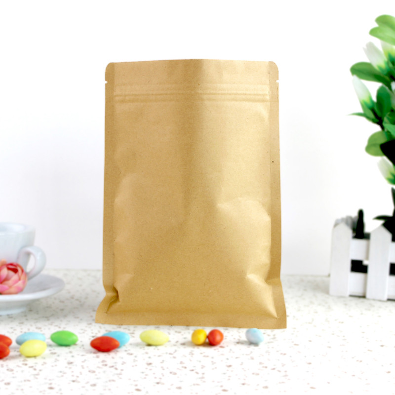 100 Pcs 8*11cm (3.1*4.3) Valve Zipper Small Kraft Paper Aluminum Foil Bag Coffee Tea Powder Food Storage Pack Zip Lock Pouch