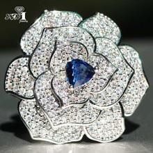 Girls Ring Princess-Cut Yayi Jewelry Blue Zircon Wedding Silver Engagement 034 Filled