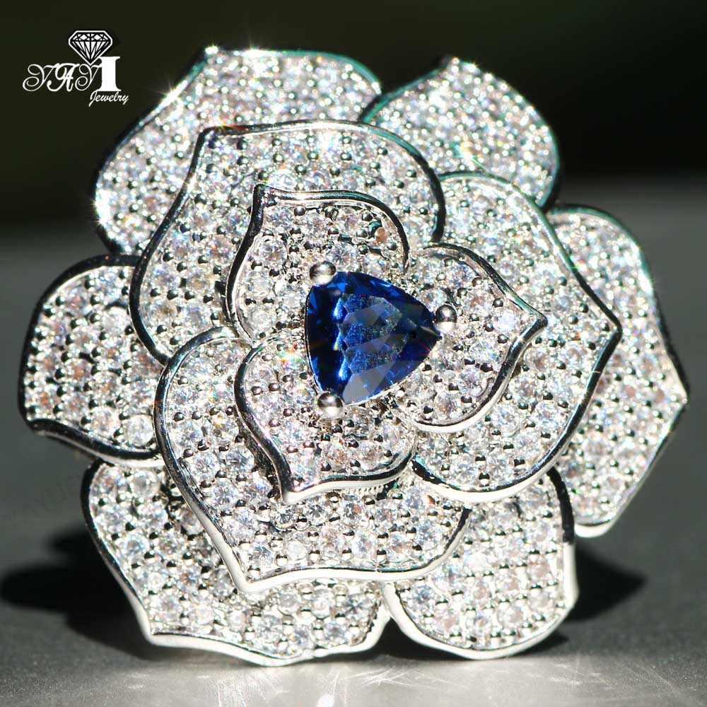 Yayi Perhiasan Putri Cut 4.3CT Biru Zirkon Perak Diisi Cincin Pertunangan Pernikahan Jantung Cincin Valentine Hari Anak Perempuan Cincin 034