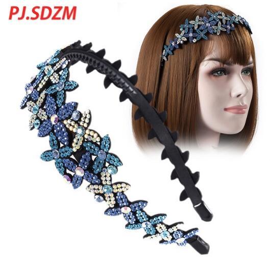 PJ. SDZM 3 pçs/lote Strass Mulheres Hairband Floral Padrão de Estrela Senhoras Acessórios Para o Cabelo Cabeça Da Menina de Presente de Aniversário de Cristal Cheio