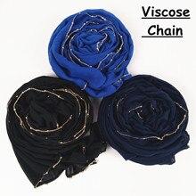M25 คุณภาพสูง gold chain viscose hijab ผ้าพันคอผ้าพันคอผู้หญิง shawl lady wrap headband 180*85 ซม.10 ชิ้น/ล็อต