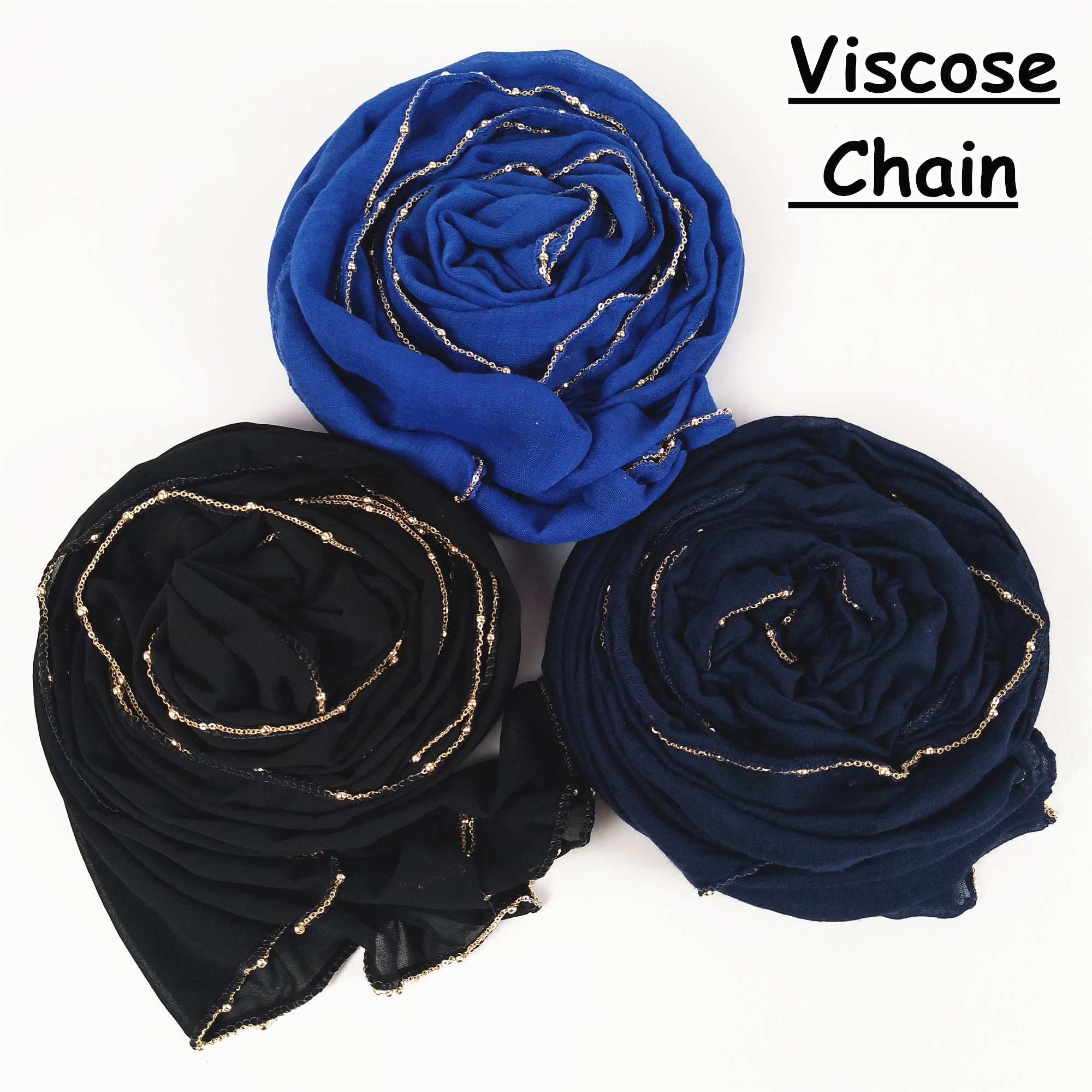 M34 1pcs High quality gold chain viscose hijab   scarf   women shawl lady   wrap   headband 180*85cm 10pcs/lot