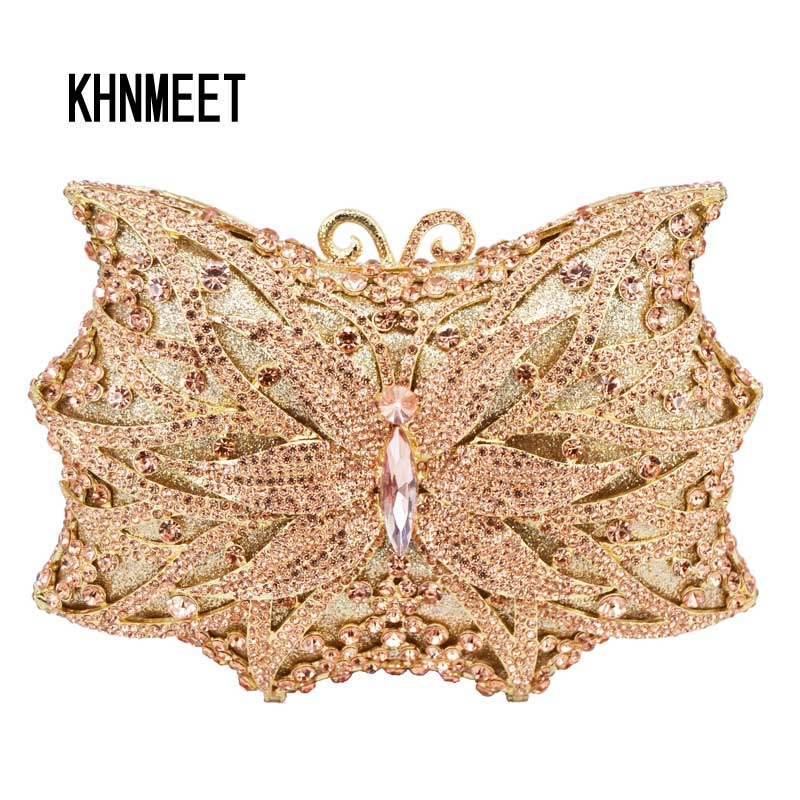 Newest butterfly Designer Crystal Day Clutch Champagne Bigger Hollow Out Evening Party Wedding Purse Women Clutch Bag SC540 newest fashion women evening bag luxury 3 colours radient rhinestone clutch purse crystal handbag party and wedding wallet