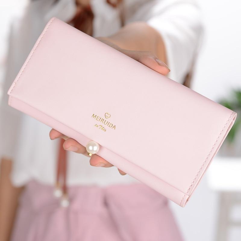 2018 Fashion Phone Pocket Women Wallet Coin Purse PU Female Long Wallet Pearl Handbag Te ...
