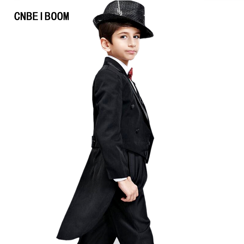Tuxedo Suit For Kids 6 Piece (Jacket+Pants+Vest+shirt+Bow tie+Belt) 2017 Brand Tailcoat Suits Boys Blazers Wedding Party Clothes