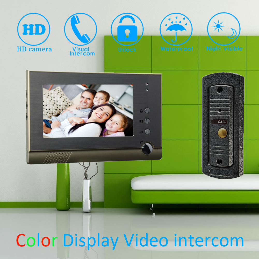 (1 Set) 7'' Color Steel Monitor Home Improvement Video Door Phone Home Security Digital Doorbell Door Access Control Intercom