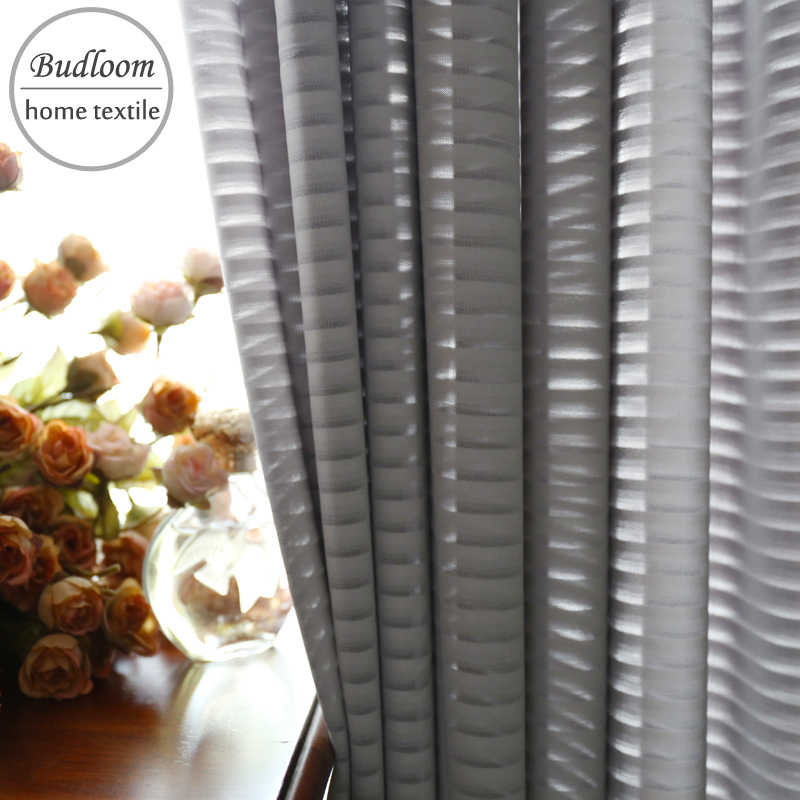 Modern style luxury gray stripe chiffon tulle curtain for living room soft drape window screen white striped sheer for bedroom