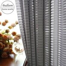 Modern style luxury gray stripe chiffon tulle curtain for living room soft drape window screen white