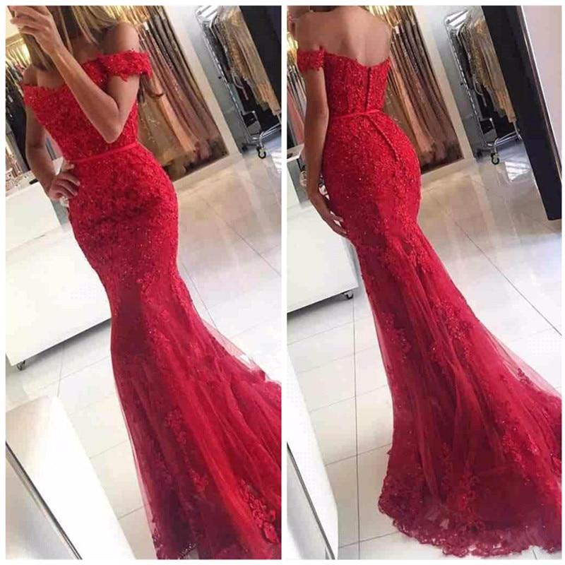 new fashion red appliques Cap Sleeve prom   dress   sexy mermaid beading long   evening     dresses   formal   dress   vestido de noiva 2017