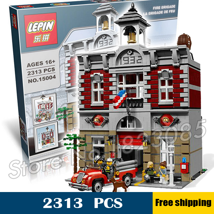 2413pcs 15004 Fire Brigade Hall DIY Model Building Blocks authentic vintage fire station Toys Compatible with Lego dhl lepin 15004 2313pcs city fire brigade model doll house building kits assembing blocks compatible with legoed 10197
