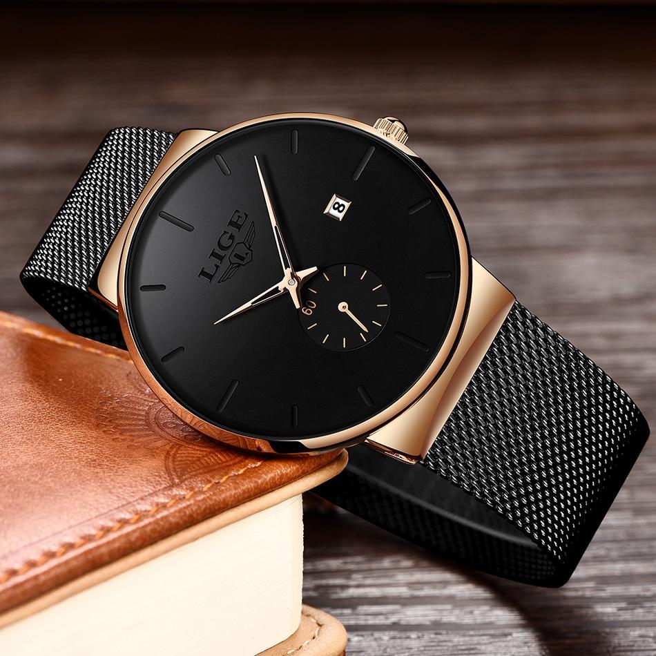 HTB1LB9kXeH2gK0jSZFEq6AqMpXag 2019 LIGE Mens Watches Top Brand Luxury Fashion Wrist Watch For Men Quartz Clock Clock Male Ultra-Thin Mesh Belt Waterproof+Box