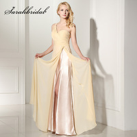 Cheap One Shoulder Empire Bridesmaid Dresses Light Yellow Long Chiffon Pleat Sweetheart With High Slit Wedding