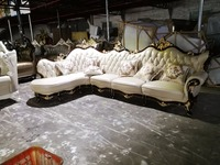 Hot Sale Sectional Sofa Home Furniture Sofa Set Living Room With Solid Rubber Carving French
