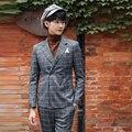 Traje Homme Últimos Diseños Bragas de la Capa Double-Breasted Traje de Hombre Italiano Tuxedo Prom Trajes de Boda 2 Unidades (Jacket + Pant)