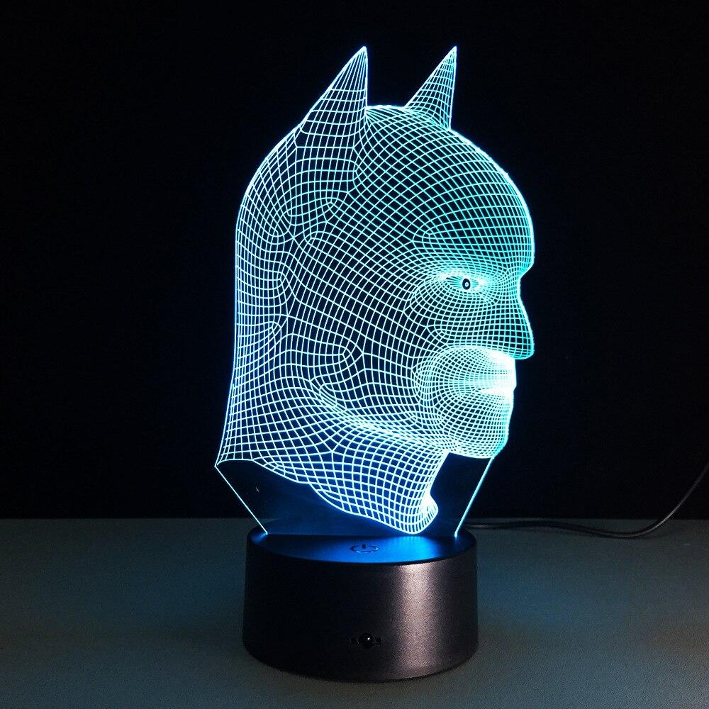 Betmena darbības figūra 3D Led nakts gaisma Bat Bat krāsains LED galda lampu apgaismojuma rotājums bērniem