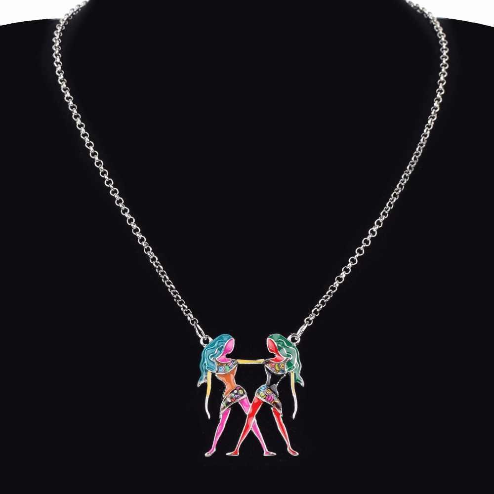 Bonsny מקסי הצהרת מתכת סגסוגת שרשרת מזל תאומים מזל גלגל המזלות תליון קולר רשת אופנה 2018 ניו אמייל תכשיטים לנשים
