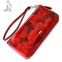 Beth Cat Women Wallet Genuine Leather Butterfly Print Pocket Wrist Wallet Zipper Long Wallets Clutch Lady