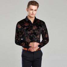 011e6788e9882c2 2017 Весна и осень Высокое качество нового дизайна моды мужские золотые  бархатная рубашка Длинные рукава платье с цветочным рису.