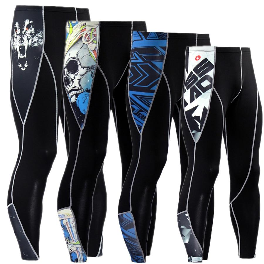 2017 New Mens Compression Pants Casual Jogger Tights Lycra Bodybuilding Crossfit High Elastic Joggers Skinny Leggings Plus Szie