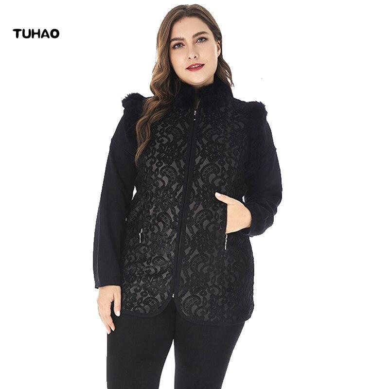 3e88389ce83 TUHAO 2018 Autumn Winter Plus Size 6XL 5XL Waistcoats Elegant Office Faux  Fur Neck Coats Womens