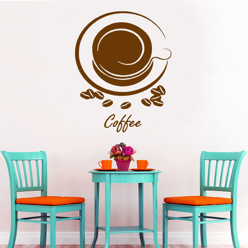 Wall Stickers Coffee Shop Beans Cafe Kitchen Art Decals Vinyl Home Room Decor
