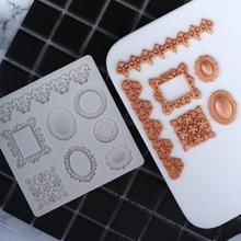Jewelry Fimo Frame Fondant Cupcake Mould Relief Border Diamond Cake Molds Confeitaria Molde De Silicone Mould Baking Tools h763