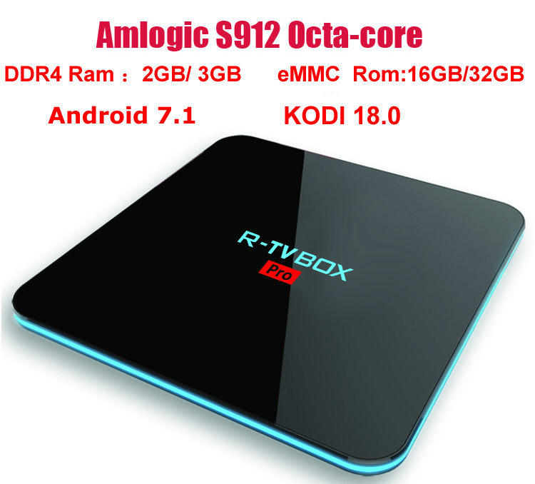 R-TV BOX PRO Android 7.1 TV Box Amlogic S912 Octa core KODI 18.0 DDR4 Ram 3GB/32GB 3GB/16GB BT4.0 Dual WIFI 2.4G/5G H.265 4K 3D