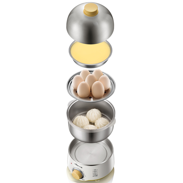 220V Multifunctional Electric Egg Boiler Steamed Custards Cooker Machine Double Layers With Auto-off Function
