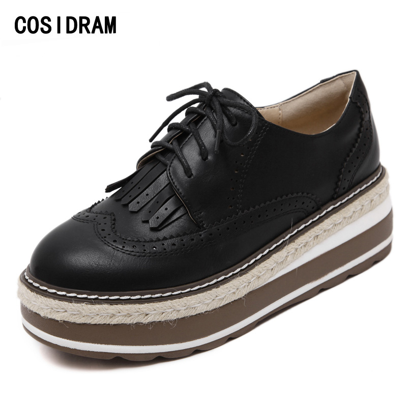 COSIDRAM Platform Brogue Women Flats Spring Autumn Ladies Shoes PU Leather Fashion Women Oxfords Female Footwear 2017 BSN-031 beyarne rivets decoration brand shoes flats women spring autumn fashion womens flats boat shoes sexy ladies plus size 11