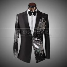 2017 new arrival sequins slim men suit set with pants mens suits wedding groom formal dress suit + pant + tie plus size 4XL
