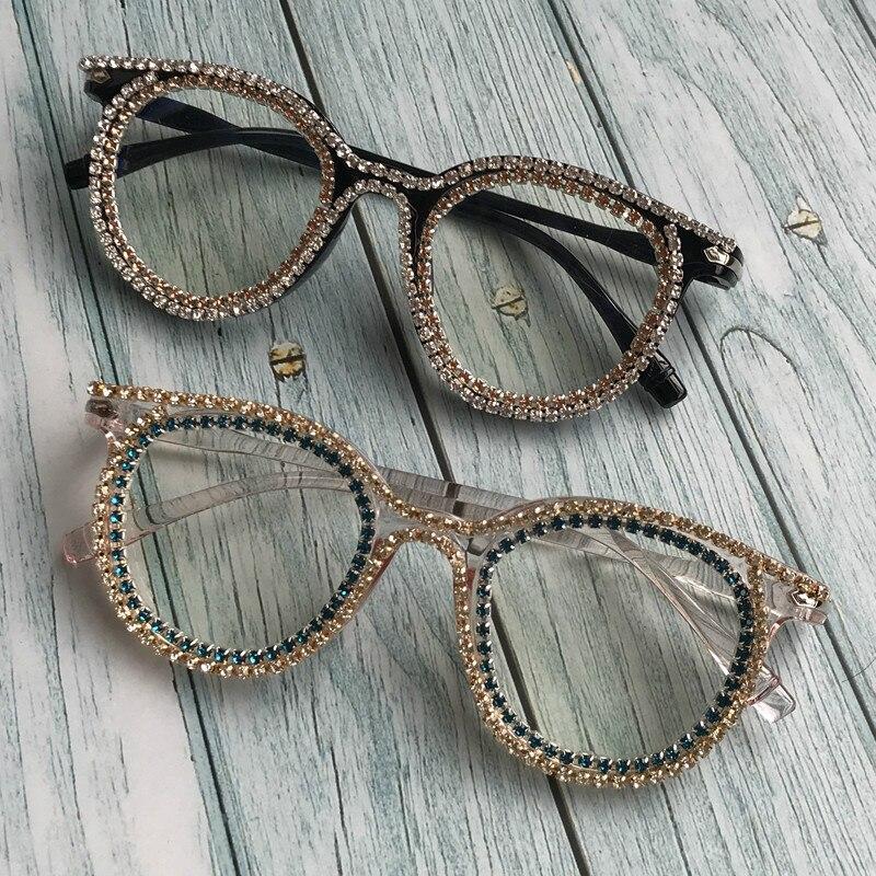 Ijverig Retro Ronde Diamant Vrouwen Zonnebril Clear Lens Uv400 Handgemaakte Kristal Vrouwelijke Brillen Goedkope Mannen Oculos De Sol