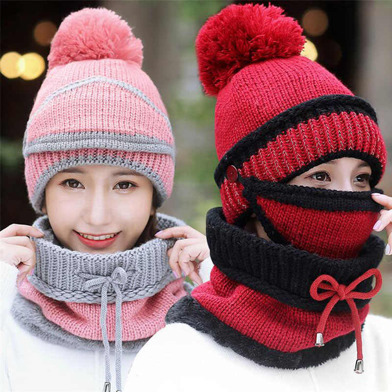 02d021dfaf8 ... SUOGRY Winter Beanie Hat Scarf and Mask Set 3 Pieces Thick Warm Knit Cap  For Women ...