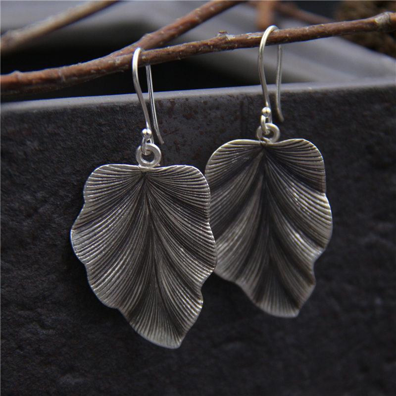 C&R Real 925 Sterling Silver Earrings for Women Irregular Leaves Black Thai Silver Drop Earrings Handmade Fine Jewelry