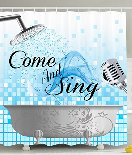 US $25.1 |Funny Shower Curtain Sing Along Quotes Come and Sing Singing  Musician Gifts Music Lover Musical Notes Bathroom Decor-in Shower Curtains  from ...