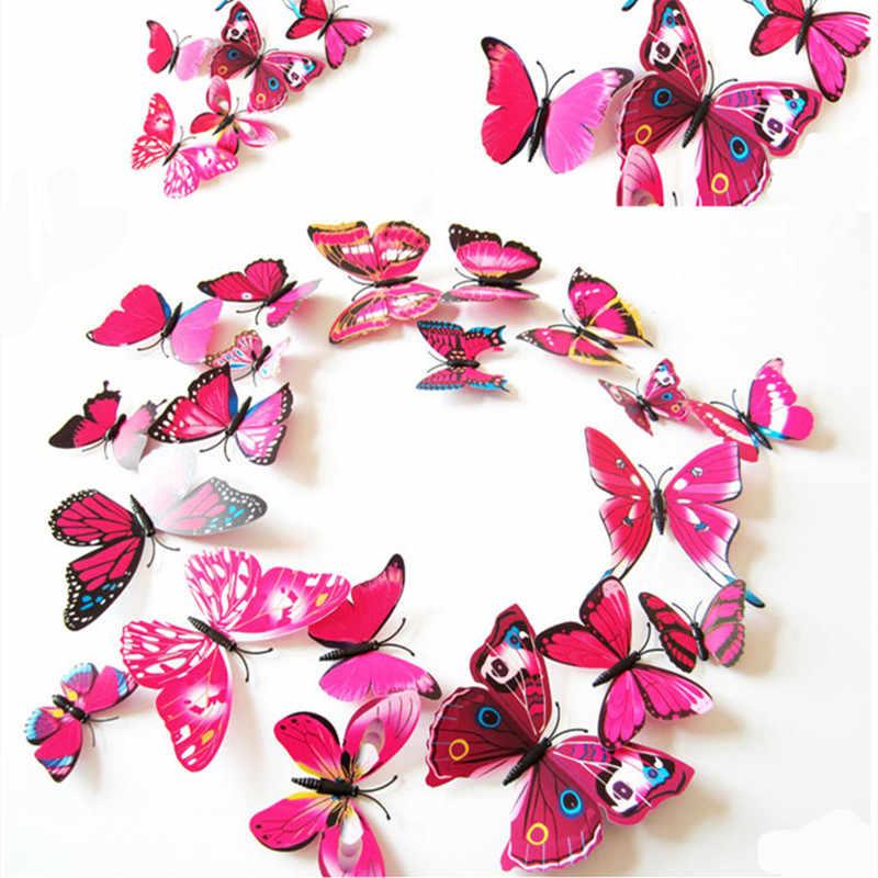 12 adet 8 renk 5 cm 3D plastik gerçekçi yapay kelebek düğün dekorasyon ev DIY Scrapbooking ev dekoratif