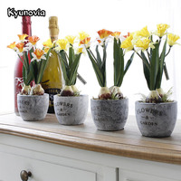 Kyunovia Daffodil Flower Bonsai Artificial Silk Flower Pots Windowsill Home Decorative Real Touch Flowers And Vase