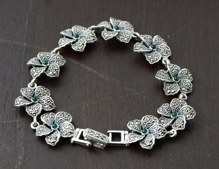S925 sterling silver bracelet Natural stone Thai silver bracelet women